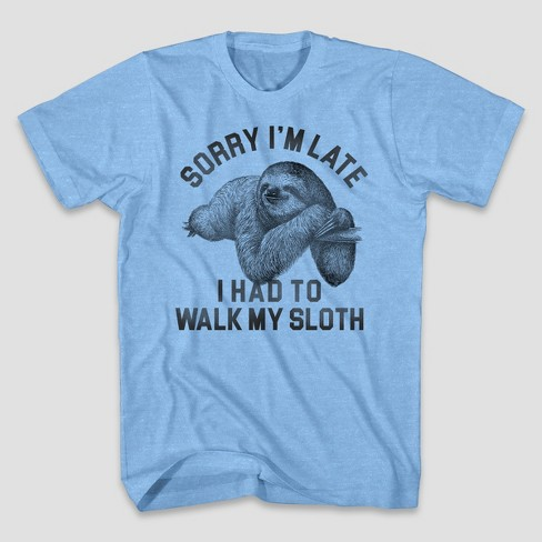 Men's Walk Sloth Short Sleeve Graphic T-Shirt Light Blue Heather - image 1 of 1