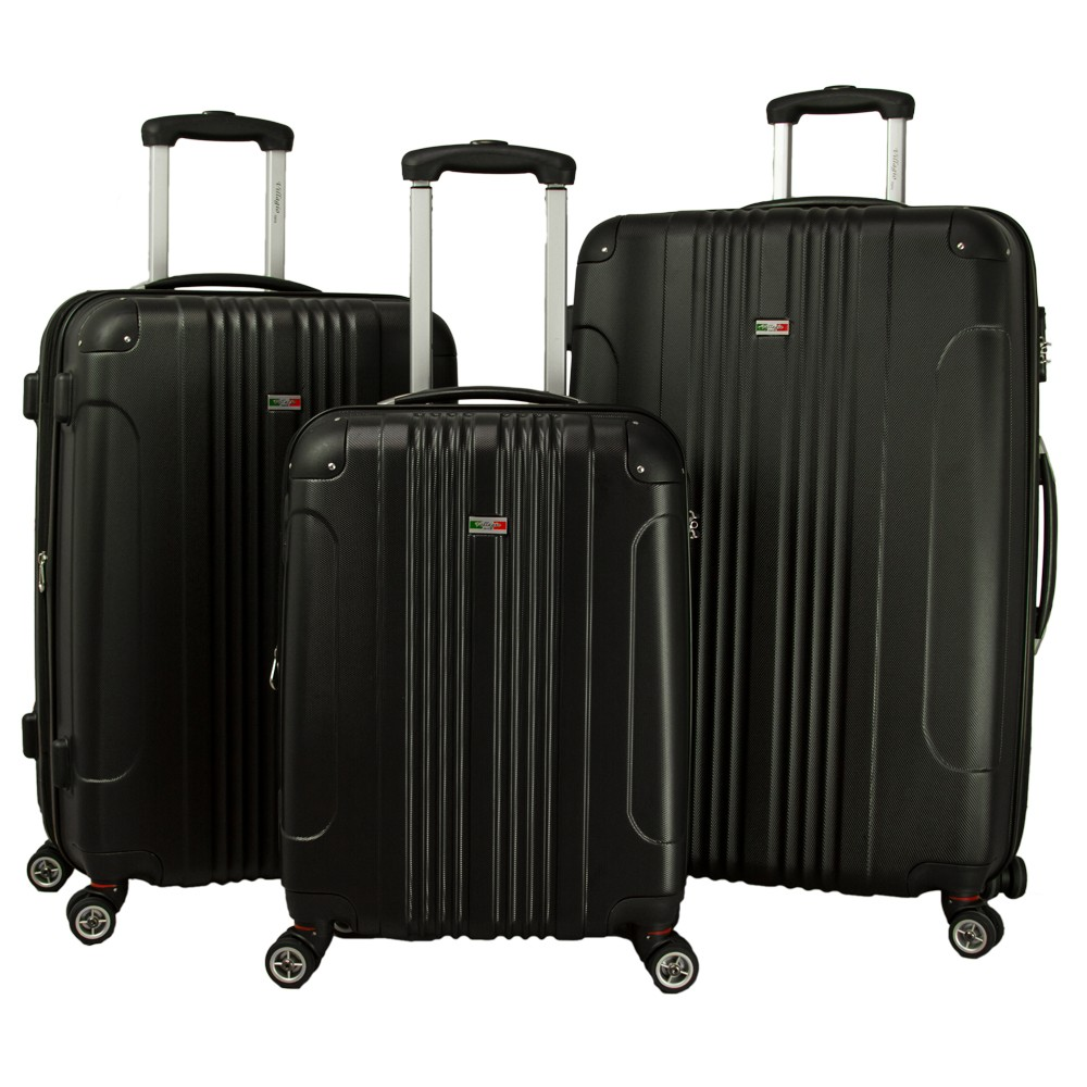 Villagio Carnival 3pc Hardside Spinner Luggage Set - Black