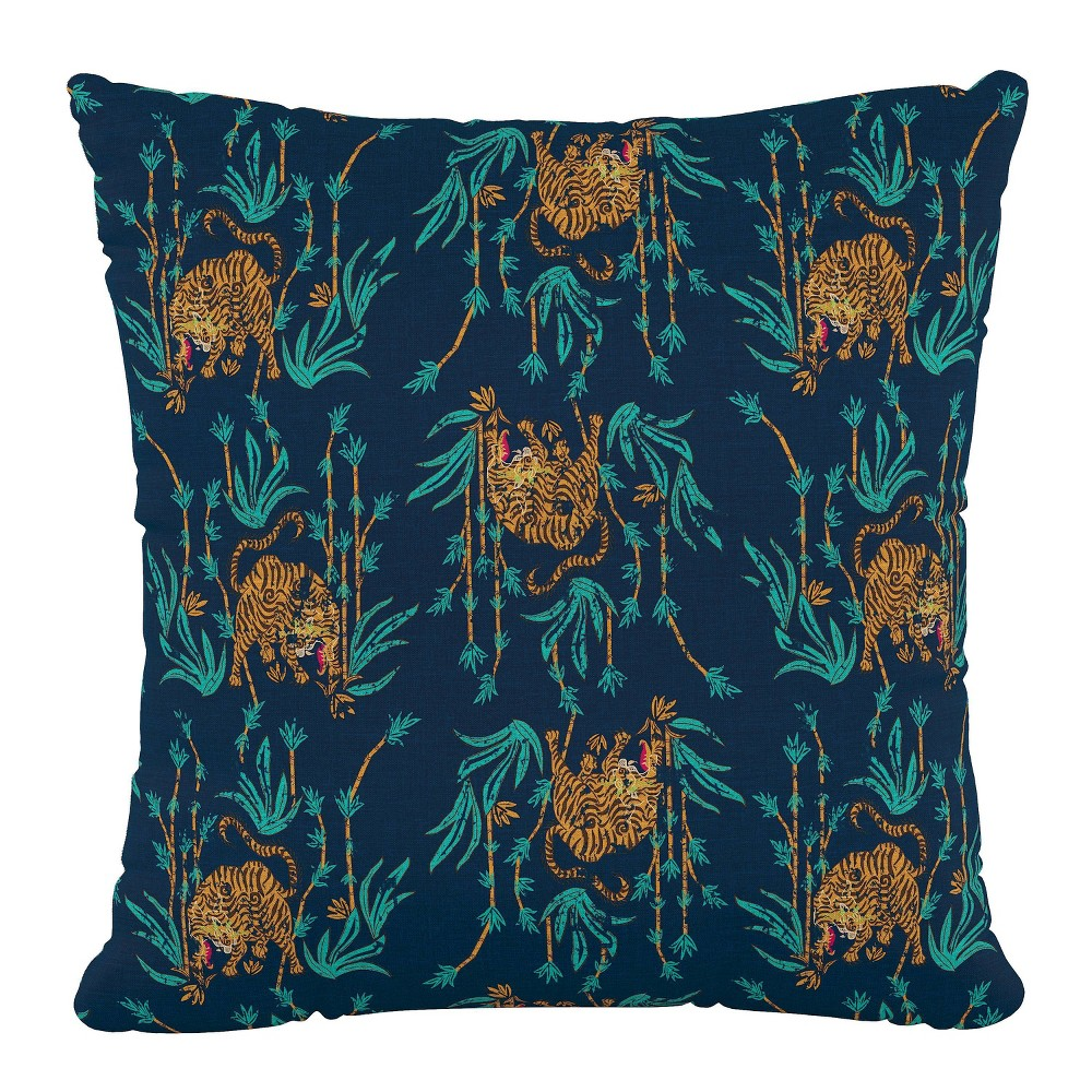 Tiger Bamboo Polyester Square Pillow Navy Skyline Furniture
