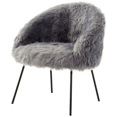 Anthony Grey Faux Fur Accent Chair - Metal Legs - Upholstered in Gray - Posh Living - image 1 of 3