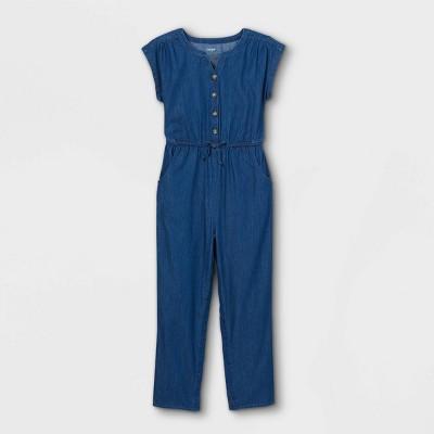 Girls' Adaptive Abdominal Access Chambray Jumpsuit - Cat & Jack™ Blue
