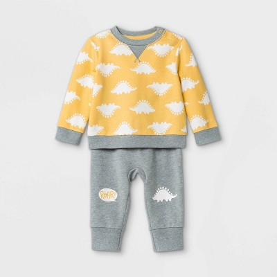 Baby Boys' Roar Dino Top & Bottom Set - Cat & Jack™ Yellow Newborn