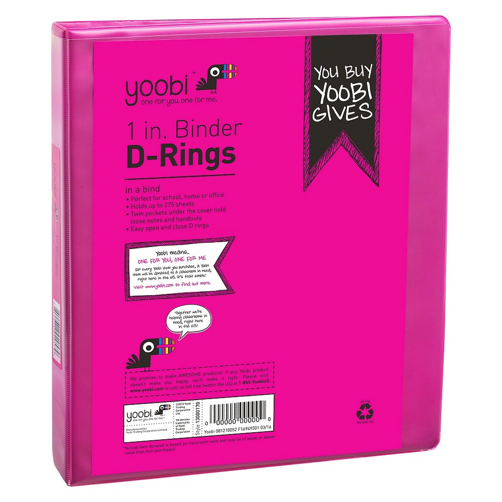 "Image of ""1"""" 275 Sheet Ring Binder Pink - Yoobi"""