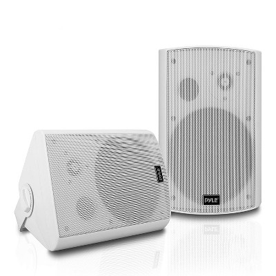 Pyle PDWR61BTWT 6.5 Inch Indoor/Outdoor Wall Mount Waterproof Stereo Speaker System Theater Wireless Bluetooth Surround Sound System, White (2 Pack)