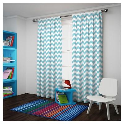 "Wavy Chevron Room Darkening Curtain Panel Pool Blue 84"" - Eclipse My Scene"