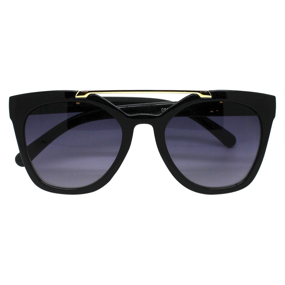 Women's Oversized Sunglasses With Top Bar - Black
