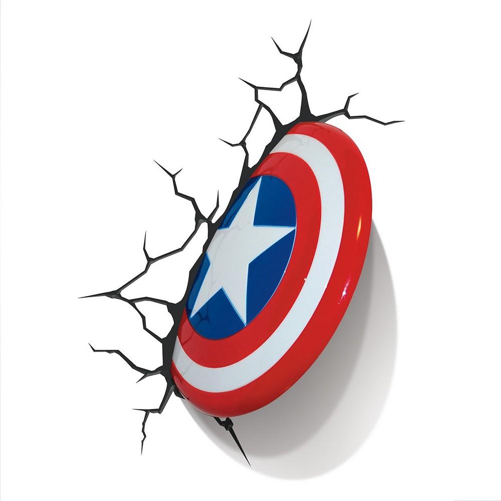 Image of Marvel 3D Wall Night Led Light - Captain America, Red/White/Blue