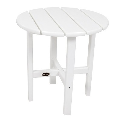 POLYWOOD® Round Patio Side Table - White