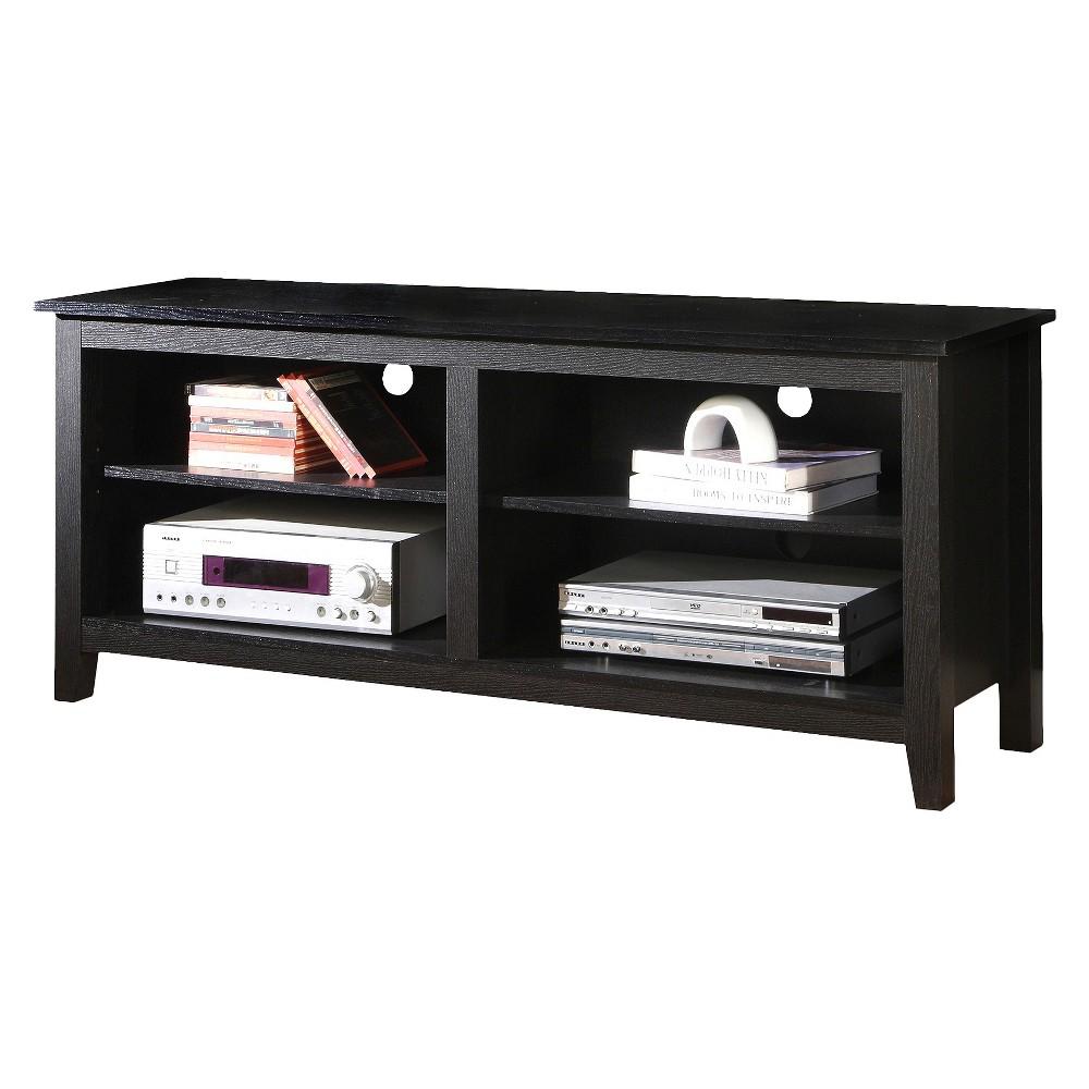 58 Wood TV Media Stand Storage Console - Black - Saracina Home