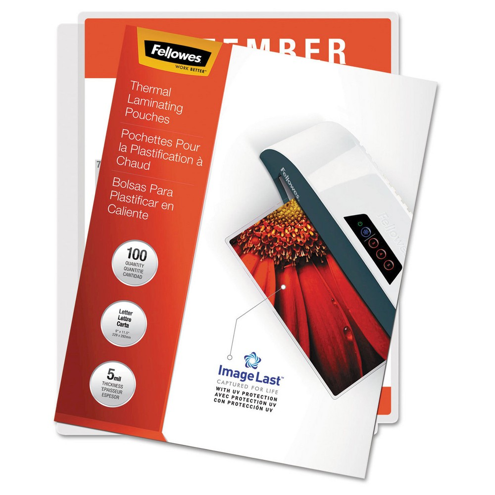 Fellowes ImageLast Laminating Pouches, Letter, 5 mil, 100ct, Clear