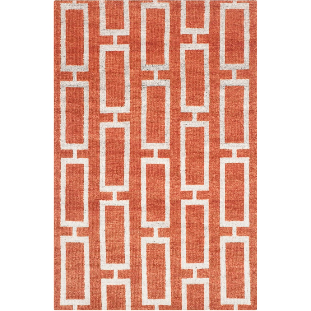 4'X6' Geometric Knotted Area Rug Light Gray - Safavieh, Red