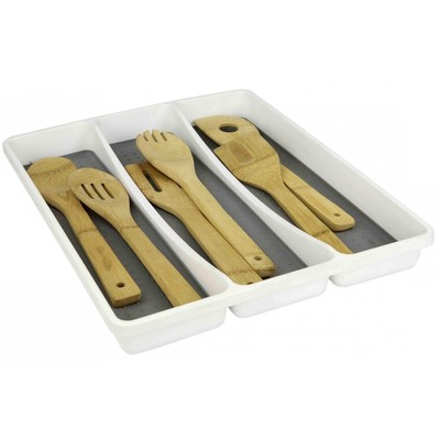 Home Basics Utensil Tray with Rubber Lined Compartments