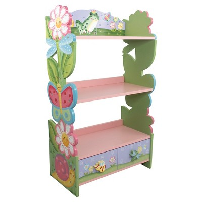 Teamson Fantasy Fields - Hand Crafted & Painted Kids Wooden Bookshelf - Magic Garden