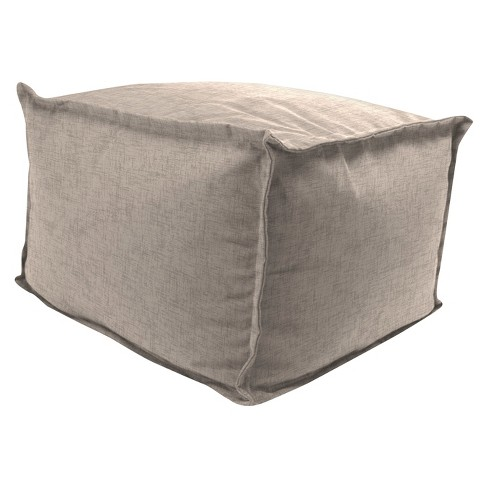 Outdoor Bean Filled Pouf/Ottoman In Jackson Oyster  - Jordan Manufacturing - image 1 of 1