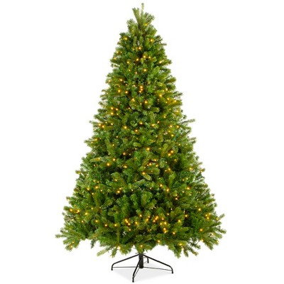 Best Choice Products 7.5ft Pre-Lit Douglas Fir Christmas Tree w/ Realistic Feel, 8 Sequences, 1912 Tips, Metal Base