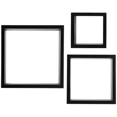 Set of 3 Floating Square Wall Shelves Nested Cubes Black - Gallery Solutions