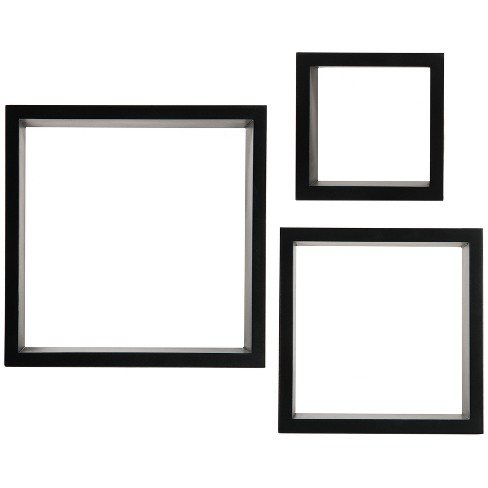 Set of 3 Floating Square Wall Shelves Nested Cubes Black - Gallery Solutions - image 1 of 3