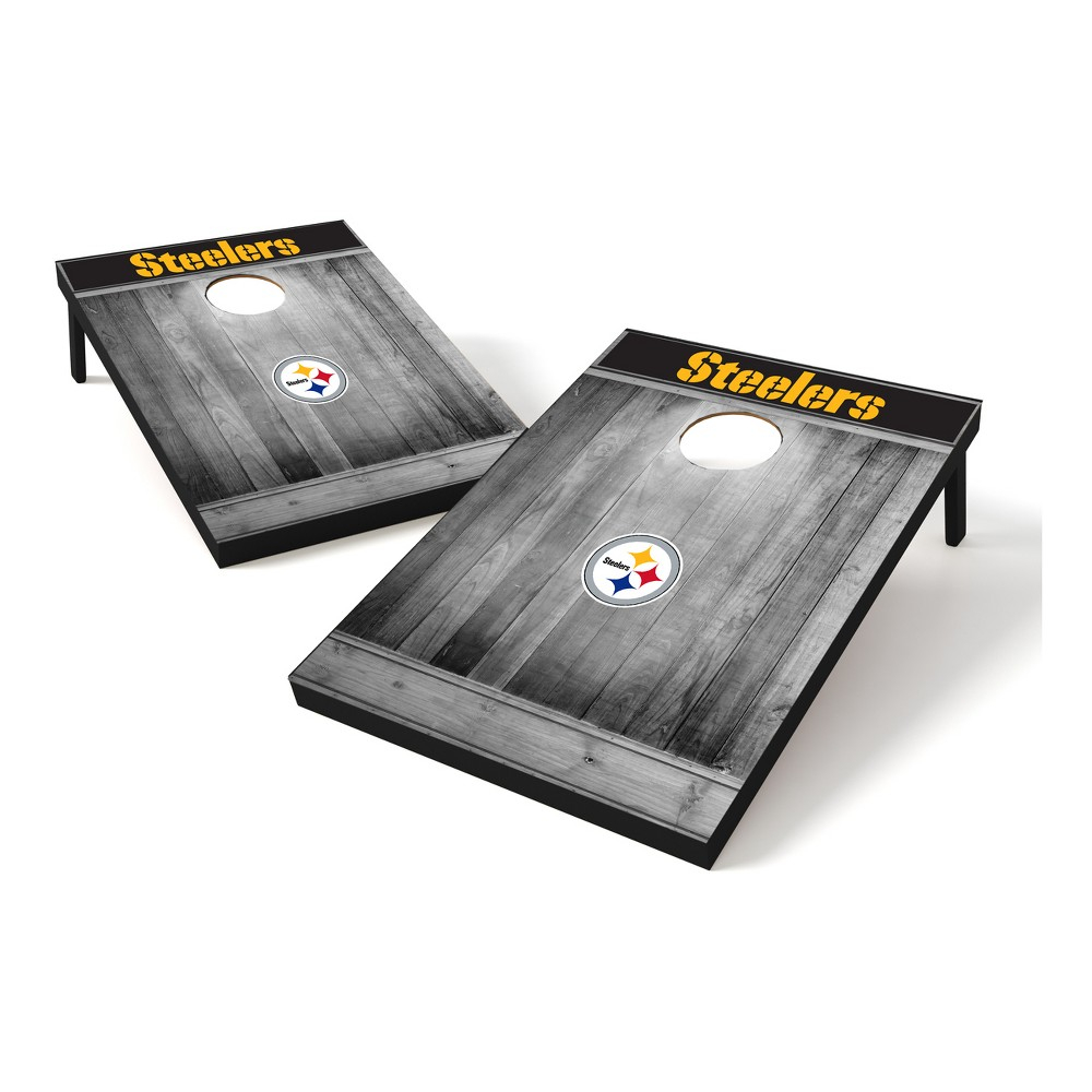 Pittsburgh Steelers Wild Sports 2x3 Rustic Wooden Plaque Gray Wash Tailgate Toss