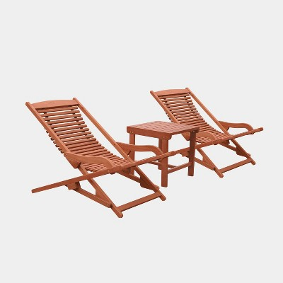 Malibu Wood Outdoor Patio 3pc Chaise Lounge Set