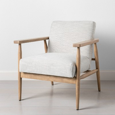 Upholstered Natural Wood Accent Chair Micro Stripe Gray/Oatmeal - Hearth & Hand™ with Magnolia