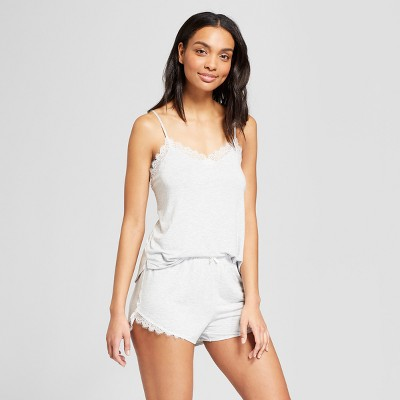 Women's Total Comfort Lace Tank Top and Shorts Pajama Set - Gilligan & O'Malley™ Light Heather Gray XS