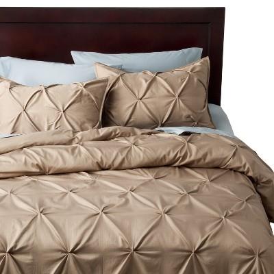 Pinch Pleat Duvet Cover Set (Queen)3pc Brown Linen - Threshold™