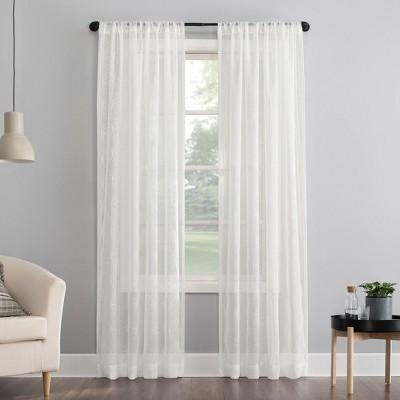 Tamaryn Embroidered Trellis Sheer Rod Pocket Curtain Panel - No. 918