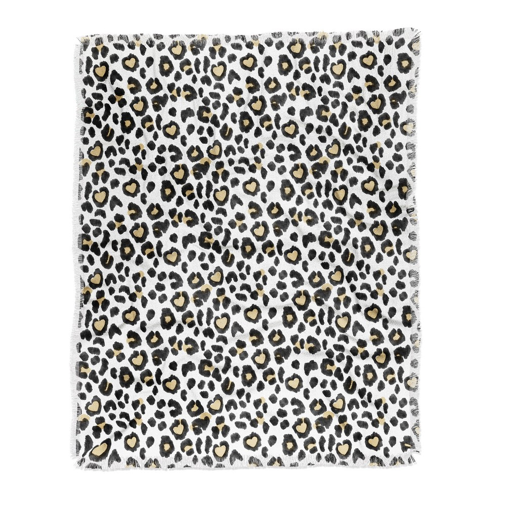 Dash and Ash Leopard Heart Throw Blanket Black/White - Deny Designs Reviews