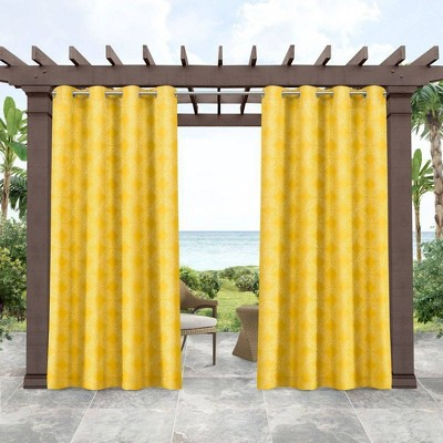 Set of 2 Indoor/Outdoor Island Curtain Panels Tile Yellow - Tommy Bahama