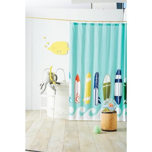 Surfboards Shower Curtain - Blue Ocean - Pillowfort™ - image 1 of 2