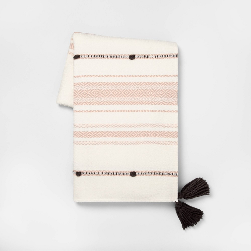 Image of Throw Blanket Dusty Pink Stripe with Poms - Hearth & Hand with Magnolia