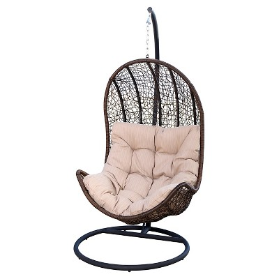 Tremendous Newport Outdoor Wicker Egg Shaped Swing Chair Brown Unemploymentrelief Wooden Chair Designs For Living Room Unemploymentrelieforg