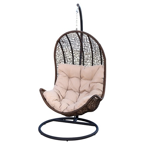 Newport Outdoor Wicker Egg Shaped Swing Chair - Brown - Abbyson Living - image 1 of 6