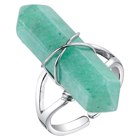 Women's Silver Plated Green Aventurine Stone Expandable Ring - Silver - image 1 of 1