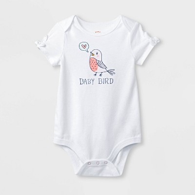Baby Girls' Short Sleeve Baby Bird Tie Sleeve Bodysuit - Cat & Jack™ White 3-6M