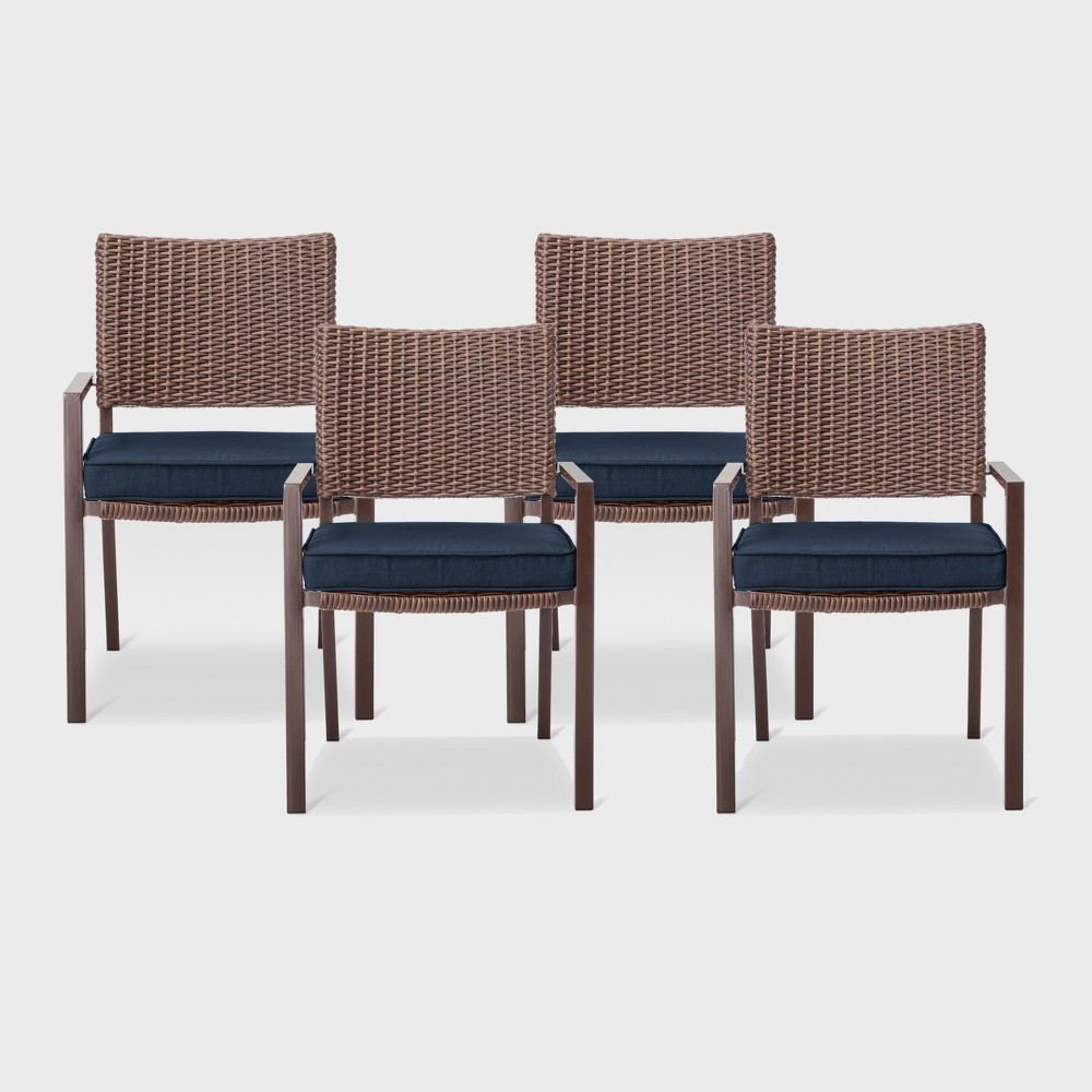 Sensational Belvedere 4Pk All Weather Wicker Patio Dining Chairs Navy Onthecornerstone Fun Painted Chair Ideas Images Onthecornerstoneorg