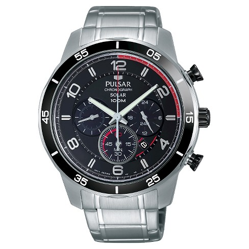 Men's Pulsar Solar Chronograph - Silver Tone with Black Bezel and Dial - PX5055 - image 1 of 1