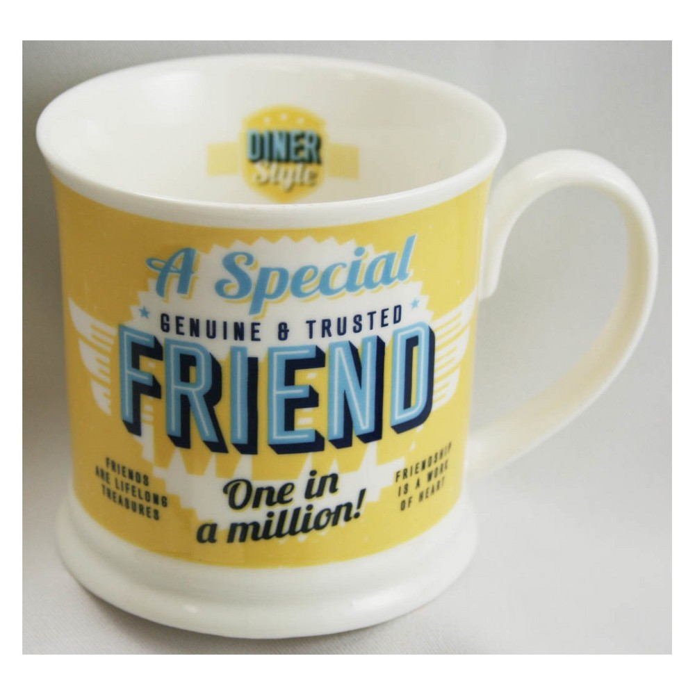 """Image of """"""""""""A Friend Special"""""""" Diner Style Mug, Yellow"""""""