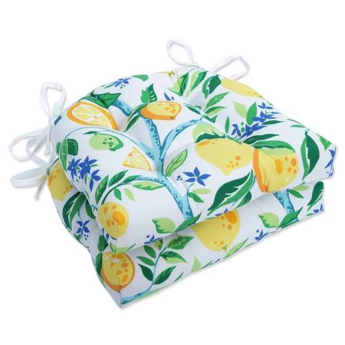 2pk Outdoor/Indoor Reversible Chair Pad Set Lemon Tree Yellow - Pillow Perfect