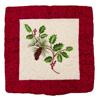 """C&F Home 14"""" x 14"""" Holly Boughs Quilted Pillow"""
