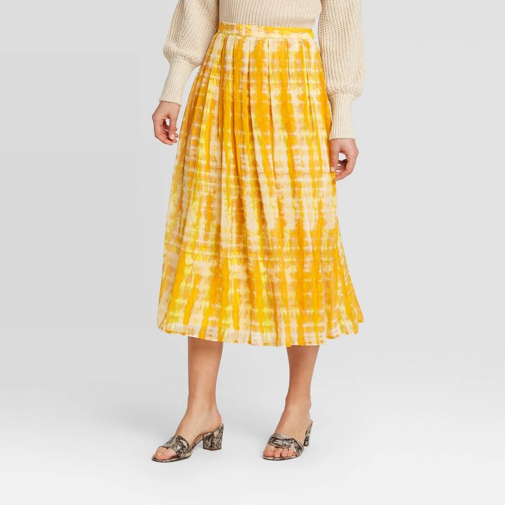 Image of Women's Low-Rise Tie-Dye Flowy Midi Skirt - Who What Wear Yellow 10, Women's