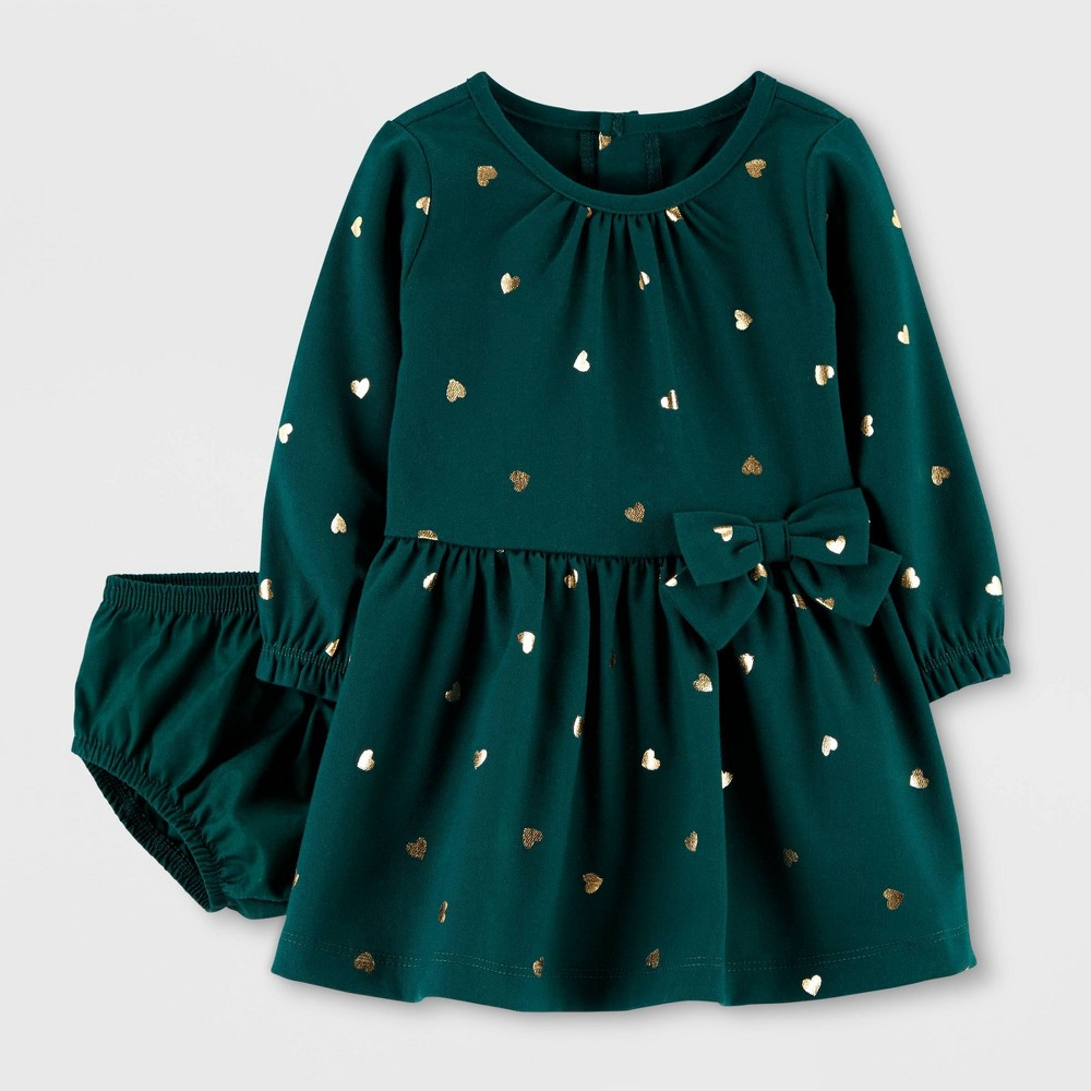 Image of Baby Girls' Emerald Long Sleeve Dress - Just One You made by carter's Green 12M, Girl's