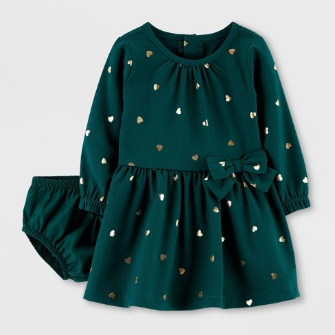 Baby Girls' Emerald Long Sleeve Dress - Just One You® made by carter's Green - image 1 of 1