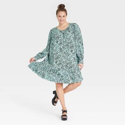 Women's Plus Size Floral Print Long Sleeve Woven Dress - Ava & Viv™ Blue