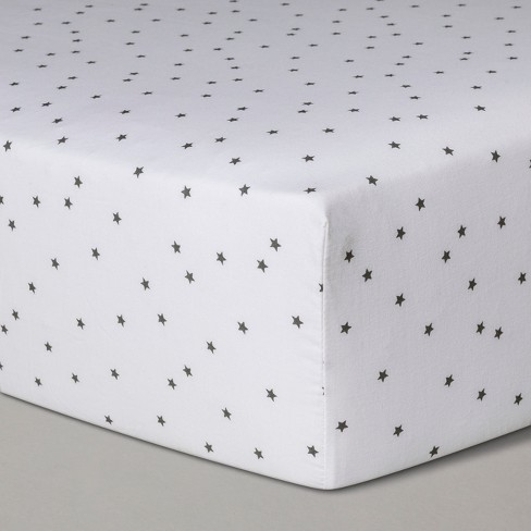 Baby Fitted Sheet - Cloud Island™ White Grey - image 1 of 2