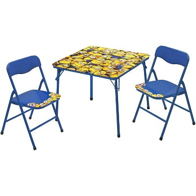 3pc Minions Collapsible Set with Storage Table and 2 Ottomans