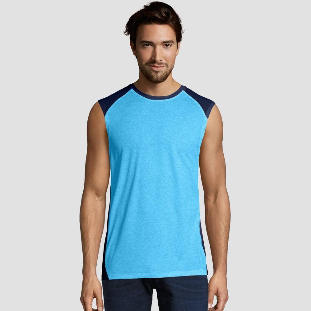 Hanes Sport Mens Performance Muscle T-Shirt - Blue S Discounts