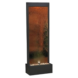 "Alpine Corporation 72"" Mirror Waterfall Fountain With Stones And Light - Bronze"