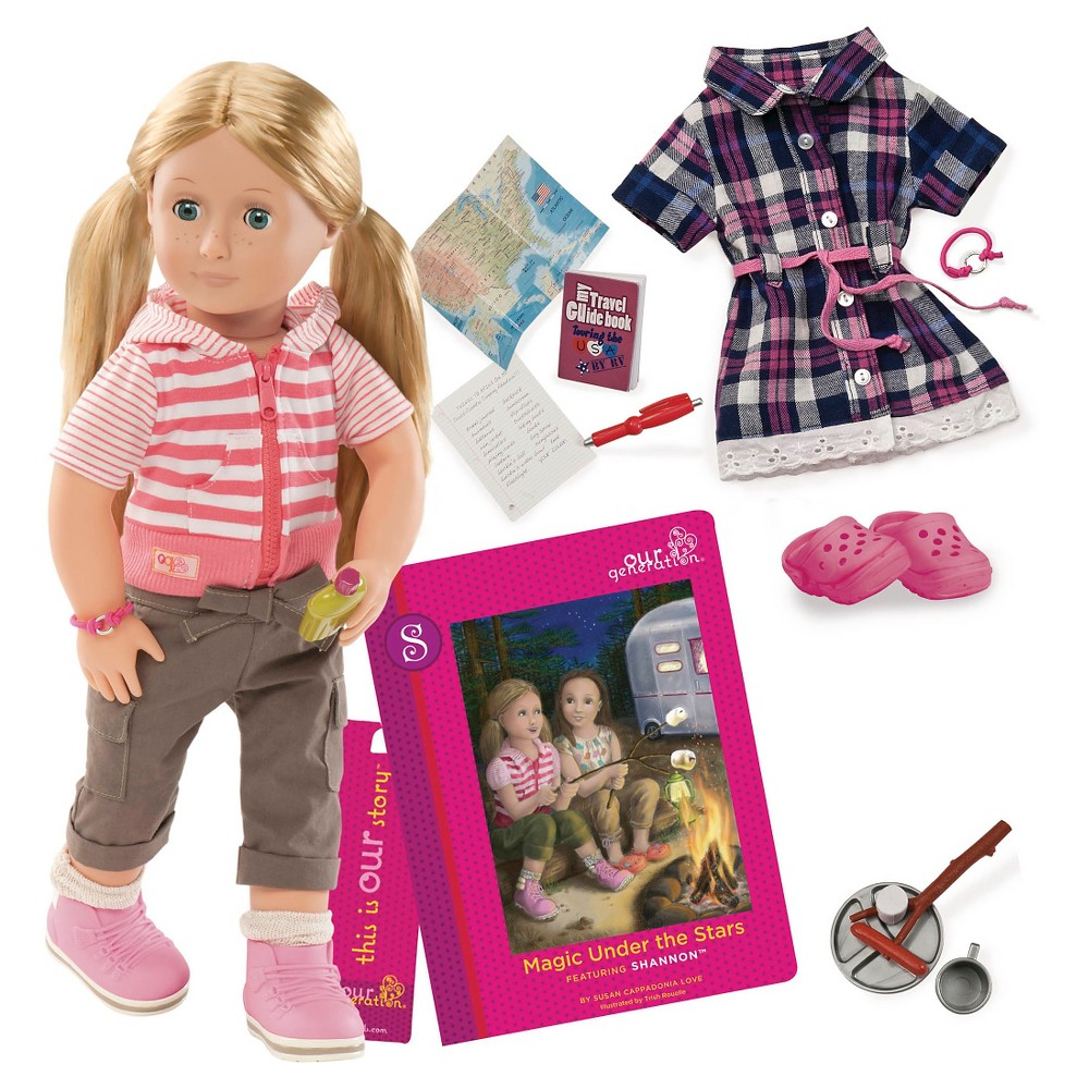 Our Generation 18 34 Posable Travel Doll With Book Shannon