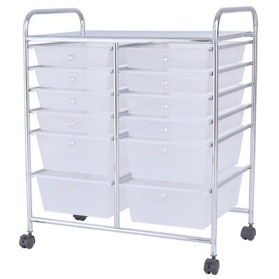 Costway Semitransparent Office Rolling Cart 12 Storage Drawer Studio Organizer Bins Scrapbook Paper